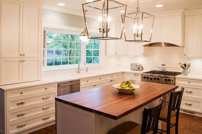 Remodeled kitchen with new center island