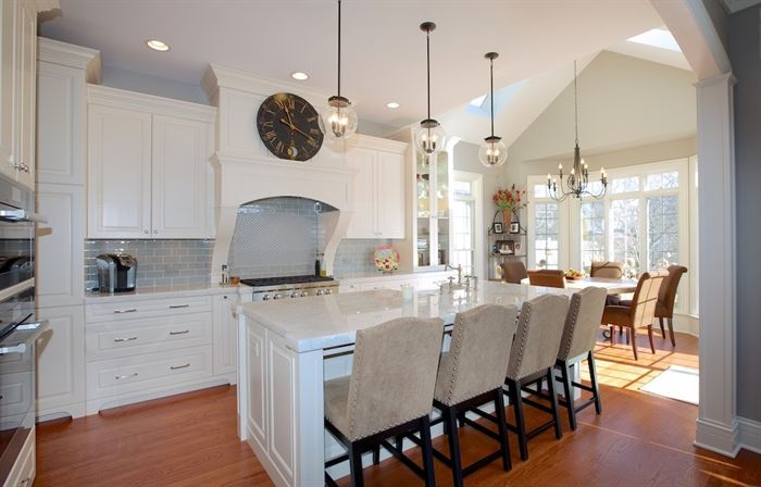 Hinsdale kitchen renovation featuring white cabinets and countertops