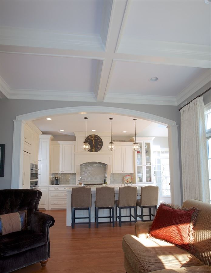Hinsdale family room and kitchen renovation featuring a coffered ceiling