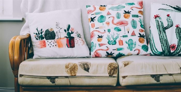 Colorful throw pillows on couch
