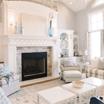 Living Room Design with white walls, brick fireplace, white carpet