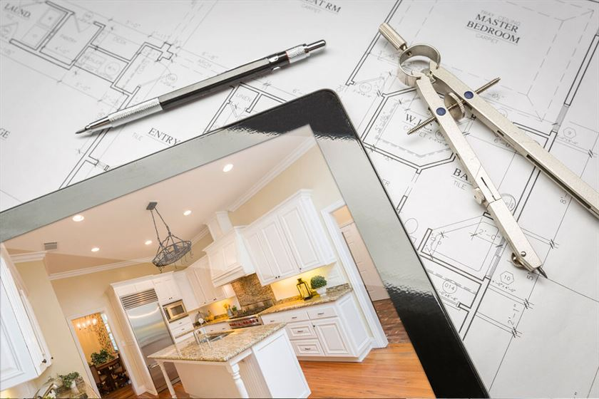 home renovation visual on mobile device and architectural designs and tools
