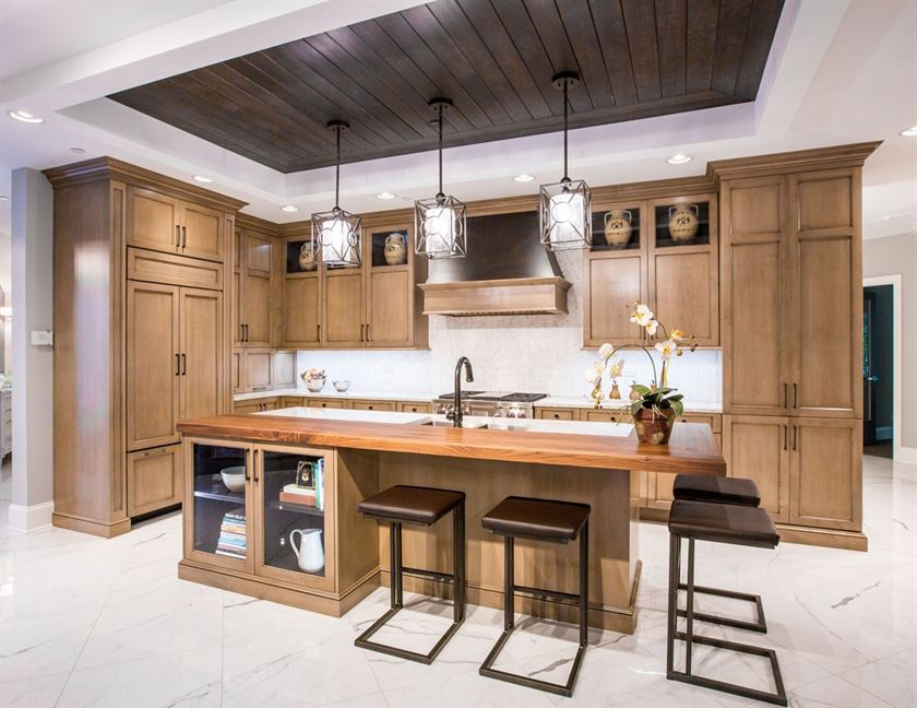 kitchen design white flooring and walls with brown island and cabinets
