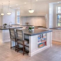 kitchen remodeling gray floor and counter tops with white cabinets and walls
