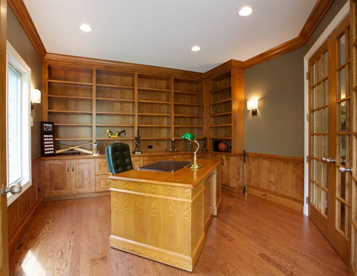 Office addition with built-in bookshelves