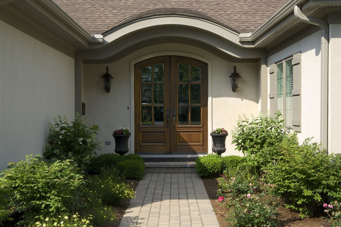 Exterior renovation to the front entryway of a home