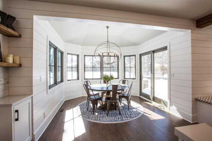 Dining room addition with large windows