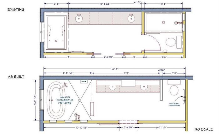 Floor plan for updated bathroom renovation