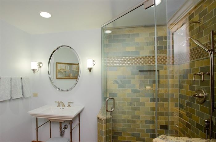 Bathroom with walk-in shower and semi-frameless shower doors