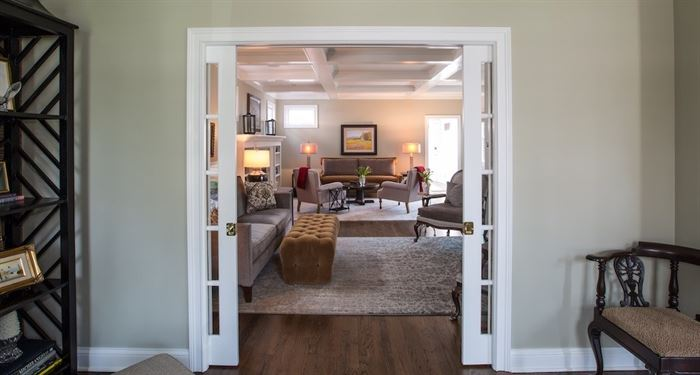Pocket doors from office into living room