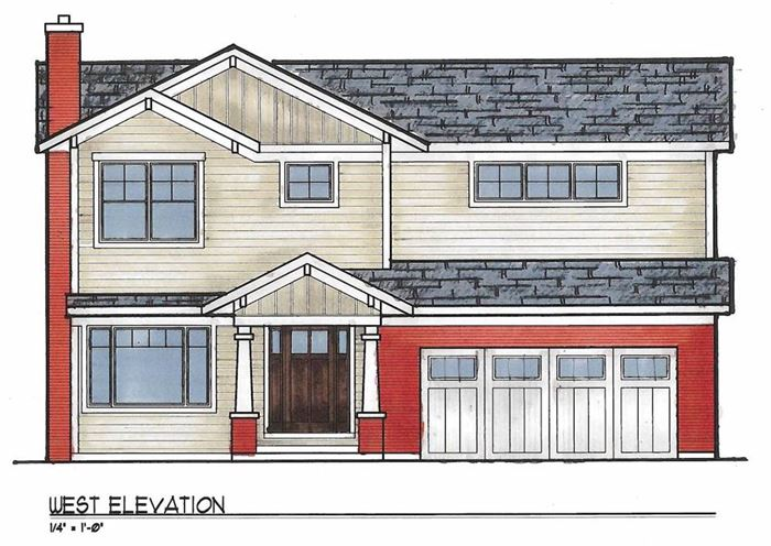 Drawing of La Grange front exterior renovation and second floor addition