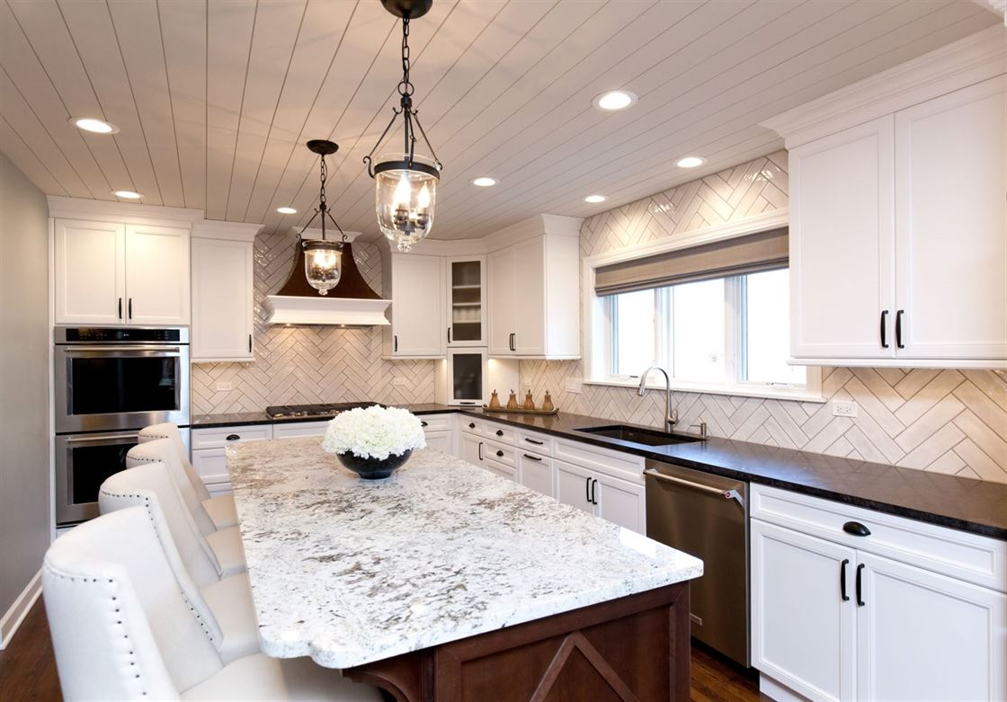 mixed materials kitchen with eat-in island