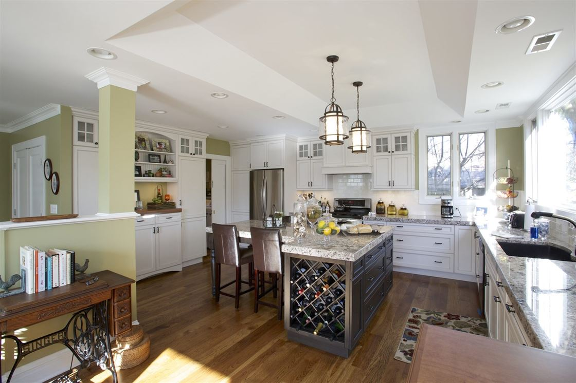 kitchen island with built-in wine rack