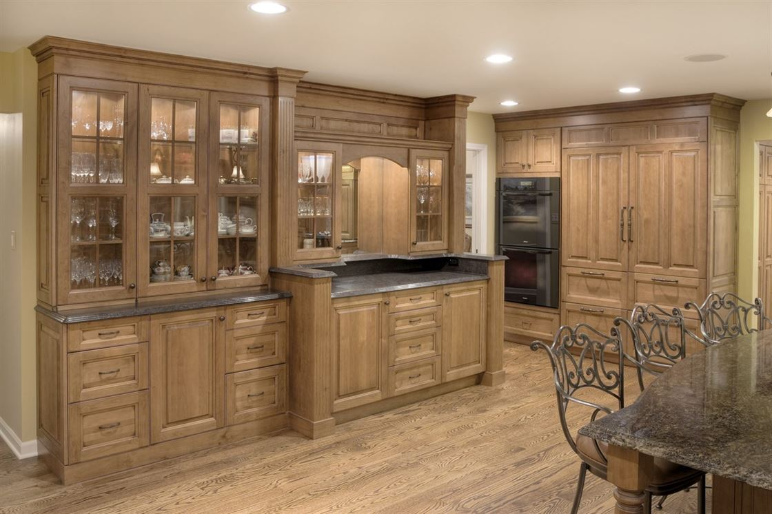 classic wood kitchen with breakfast island